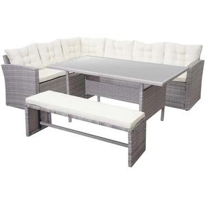 Poly-Rattan-Garnitur HHG-471, Gartengarnitur Sitzgruppe Lounge-Esstisch-Set, hellgrau ~ Kissen creme, mit Bank