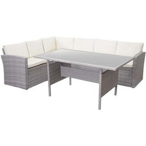 Poly-Rattan-Garnitur HHG-471, Gartengarnitur Sitzgruppe Lounge-Esstisch-Set Sofa, hellgrau ~ Kissen creme
