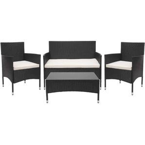 Poly-Rattan Garnitur HHG-813, Gartengarnitur Sitzgruppe ~ schwarz, Kissen creme