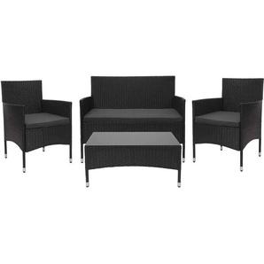 Poly-Rattan Garnitur HHG-813, Gartengarnitur Sitzgruppe ~ schwarz, Kissen dunkelgrau