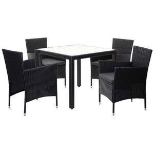 Poly-Rattan Garnitur HHG-983, Sitzgarnitur Balkon-Set Sitzgruppe, 4xSessel+Tisch anthrazit, Kissen dunkelgrau