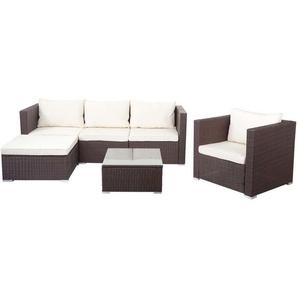 Poly-Rattan-Garnitur Busto, Gartengarnitur Sitzgruppe Lounge-Set ~ braun, Kissen creme - HHG