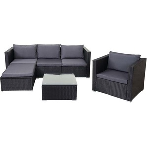 Poly-Rattan-Garnitur Busto, Gartengarnitur Sitzgruppe Sofa Lounge-Set ~ schwarz, Kissen anthrazit - HHG