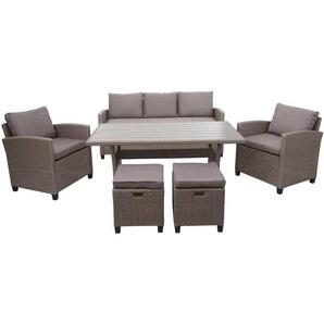 Poly-Rattan Garnitur HHG-078, Garten-/Lounge-Set Sofa Sitzgruppe, Tischplatte WPC Spun Poly halbrundes Rattan grau