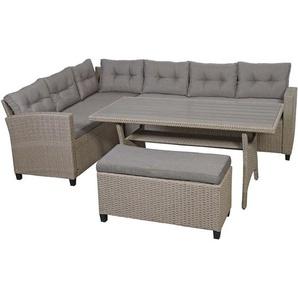 Poly Rattan Garnitur HHG-080, Garten-/Lounge-Set Sofa Sitzgruppe, 238cm Spun Poly halbrundes Rattan Tischplatte WPC grau
