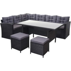 Poly-Rattan-Garnitur HHG-389, Gartengarnitur Sitzgruppe Lounge-Esstisch-Set, schwarz ~ Kissen dunkelgrau, mit 2x Hocker