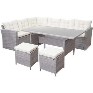 Poly-Rattan-Garnitur HHG-471, Gartengarnitur Sitzgruppe Lounge-Esstisch-Set, hellgrau ~ Kissen creme, mit 2x Hocker