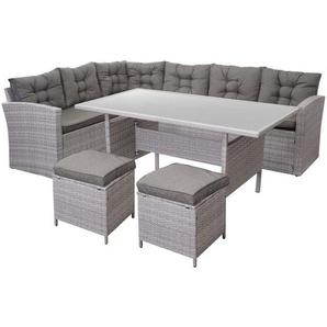 Poly-Rattan-Garnitur HHG-471, Gartengarnitur Sitzgruppe Lounge-Esstisch-Set Sofa, hellgrau ~ Kissen grau, mit 2x Hocker