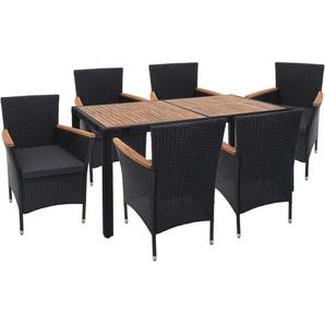 Poly-Rattan Garnitur HHG-748, Balkon-/Garten-/Lounge-Set Sitzgruppe, Akazie Holz ~ anthrazit, Kissen dunkelgrau