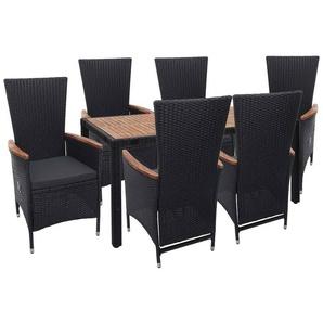 Poly-Rattan Garnitur HHG-748, Gartengarnitur Sitzgruppe, verstellbare Lehne Akazie Holz ~ anthrazit, Kissen dunkelgrau