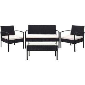 Poly-Rattan Garnitur HHG-821, Gartengarnitur Sitzgruppe ~ schwarz, Kissen creme