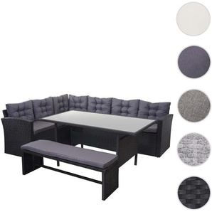 Poly-Rattan-Garnitur HWC-A29, Gartengarnitur Sitzgruppe Lounge-Esstisch-Set, schwarz ~ Kissen dunkelgrau, mit Bank
