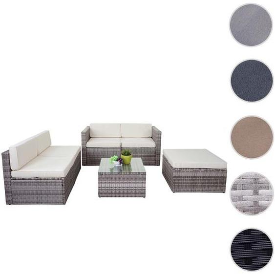 Poly-Rattan-Garnitur HWC-D24, Garten-/Lounge-Set Sofa ~ anthrazit, Polster hellgrau ohne Deko-Kissen