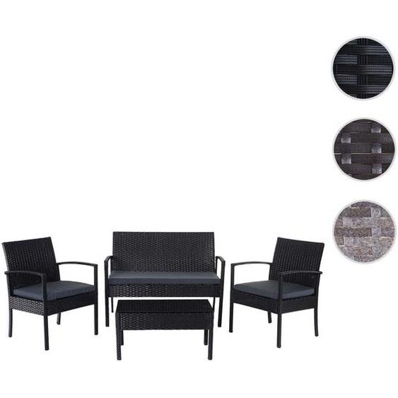 Poly-Rattan Garnitur HWC-D98, Garten-/Lounge-Set Sitzgruppe ~ anthrazit, Kissen dunkelgrau