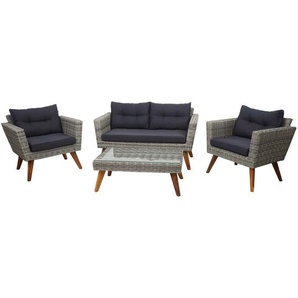 Poly-Rattan Garnitur HWC-E93, Garten-/Lounge-Set Sofa, Spun Poly halbrundes Rattan Akazie Holz grau Kissen dunkelgrau