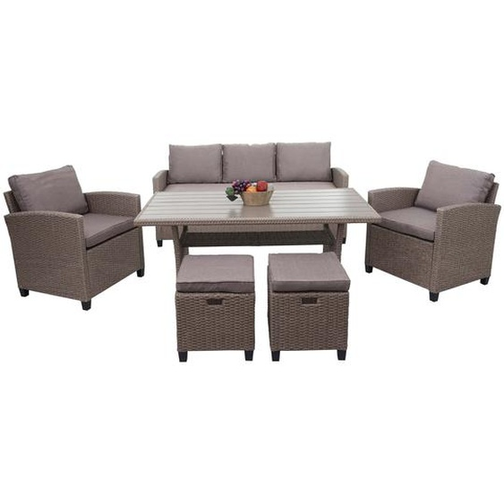 Poly-Rattan Garnitur HWC-E95, Garten-/Lounge-Set Sofa Sitzgruppe, Tischplatte WPC Spun Poly halbrundes Rattan grau