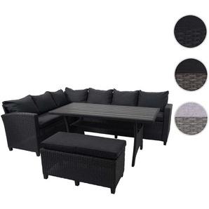 Poly Rattan Garnitur HWC-E96, Garten-/Lounge-Set Sitzgruppe, Spun Poly halbrundes Rattan ~ schwarz, Kissen anthrazit