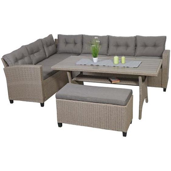 Poly Rattan Garnitur HWC-E96, Garten-/Lounge-Set Sofa Sitzgruppe, 238cm Spun Poly halbrundes Rattan Tischplatte WPC grau