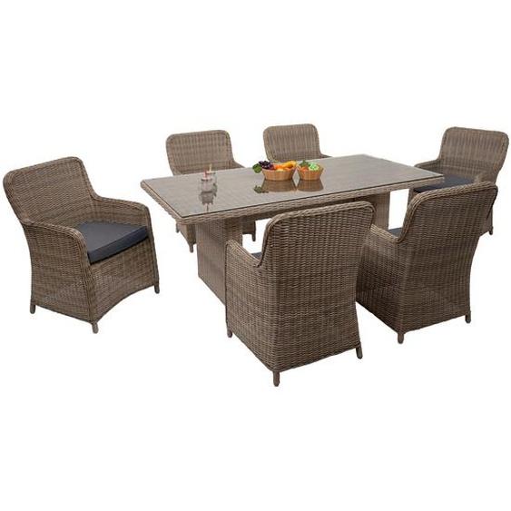 Poly-Rattan Garnitur HWC-E98, Sitzgruppe Balkon-/Garten-/Lounge-Set, Spun Poly halbrundes Rattan beige Kissen grau