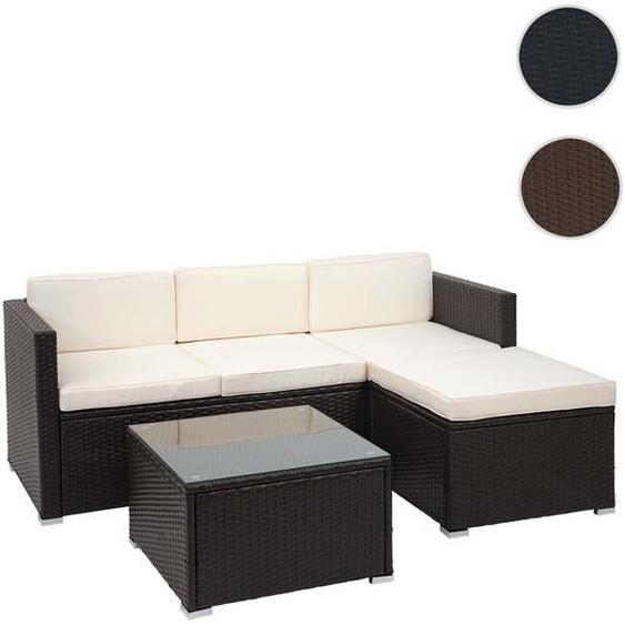 Poly-Rattan Garnitur HWC-F40, Balkon-/Garten-/Lounge-Set Sitzgruppe, 3er Sofa Tisch ~ braun, Kissen creme