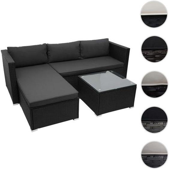 Poly-Rattan Garnitur HWC-F57, Balkon-/Garten-/Lounge-Set Sofa Sitzgruppe ~ schwarz, Kissen dunkelgrau
