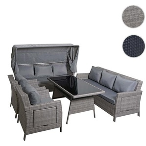 Poly-Rattan Garnitur HWC-F74, Sitzgruppe Garten-/Lounge-Set, Sofa mit Sonnendach ~ hellgrau, Kissen grau