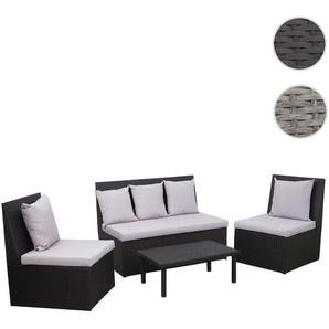 Poly-Rattan Garnitur HWC-G16, Garten-/Lounge-Set, Gastronomie 2er Sofa 2xSessel Couchtisch ~ schwarz, Kissen hellgrau