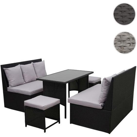 Poly-Rattan Garnitur HWC-G16, Garten-/Lounge-Set, Gastronomie 2x2er Sofa Tisch 2xHocker ~ schwarz, Kissen hellgrau