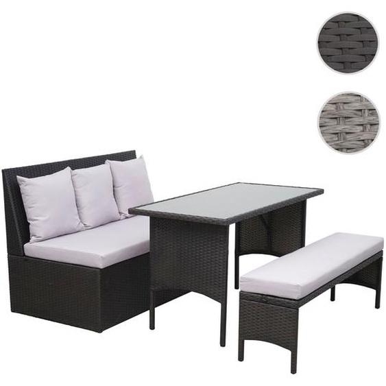 Poly-Rattan Garnitur HWC-G16, Garten-/Lounge-Set Sitzgruppe, Gastronomie 2er Sofa Tisch Bank ~ schwarz, Kissen hellgrau