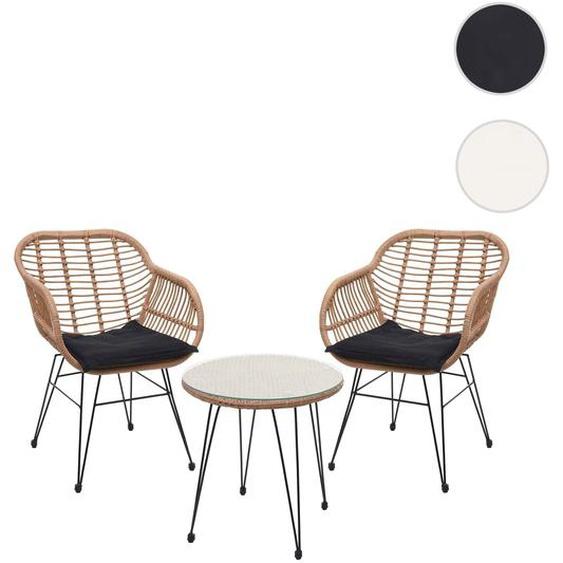 Poly-Rattan Garnitur HWC-G17, Balkon-Set Gartengarnitur Sitzgarnitur Sitzgruppe Stuhl, naturfarben Kissen anthrazit