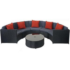 Poly-Rattan Garnitur rund HHG-120, Garten-Set Sitzgruppe ~ schwarz, Polster dunkelgrau, Kissen terrakotta