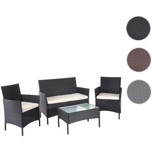 Poly-Rattan Garten-Garnitur HWC-D82, Sitzgruppe Lounge-Garnitur ~ schwarz mit Kissen creme