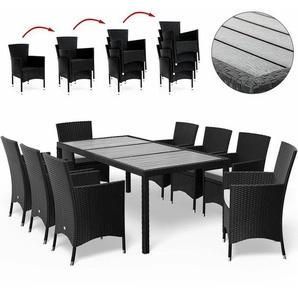 Deuba Poly Rattan Sitzgruppe WPC Tisch & 8 Stapelbare Stühle Mit dicken Auflagen Schwarz Gartenmöbel Sitzgarnitur Set