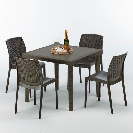 Grand Soleil - Poly Rattan Tisch Quadratisch mit 4 Bunten Stühlen 90x90 Braun Brown Passion | Boheme Braun Moka