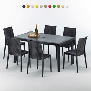 Poly rattan Tisch rechteckig mit 6 bunten Polyrattan Stühlen 150x90 Schwarz | Bistrot Anthrazit Schwarz - GRAND SOLEIL