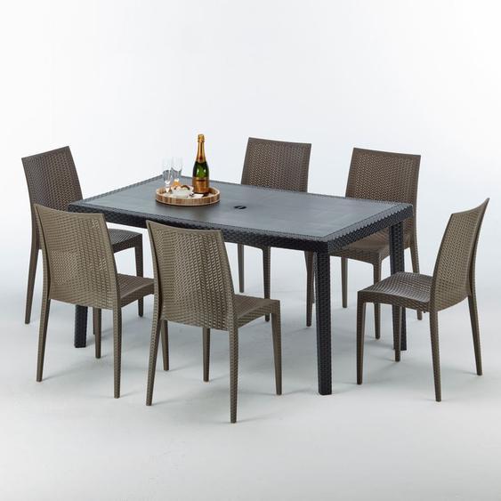 Poly Rattan Tisch Rechteckig mit 6 Bunten Polyrattan Stühlen 150x90 Schwarz | Bistrot Braun Moka