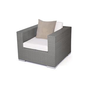 Polyrattan Cube Sessel - anthrazit - Polyrattan Lounge Sessel in Anthrazit