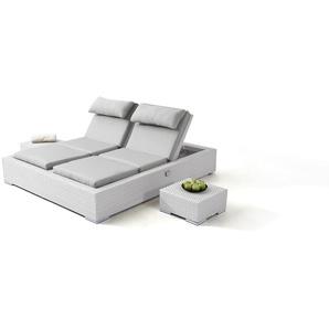 Polyrattan Doppelliege Big Smoop - weiß satiniert - Polyrattan Lounge Doppelliege in Weiß satiniert