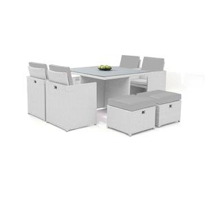 Polyrattan Essgruppe Bodiner 4+4 - weiß satiniert - Polyrattan Esstisch Set in Weiß satiniert