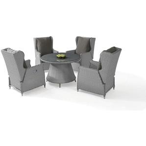 Polyrattan Essgruppe Chesta 4, rund - grau satiniert - Gartenmöbel Dining Set in Grau satiniert