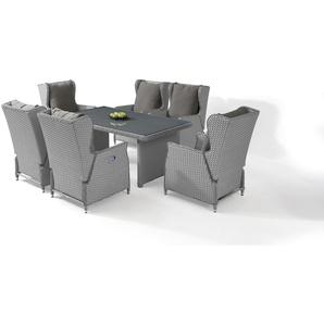 Polyrattan Essgruppe Chesta 6, eckig - grau satiniert - Gartenmöbel Dining Set in Grau satiniert