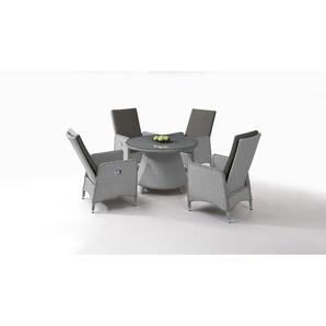 Polyrattan Essgruppe Doona 4, rund - grau satiniert - Polyrattan Klassik Dining Set in Grau satiniert