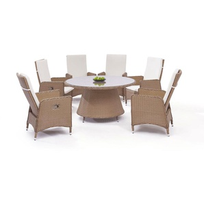 Polyrattan Essgruppe Doona 6, rund - karamell - Polyrattan Klassik Dining Set in Karamell