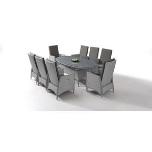 Polyrattan Essgruppe Doona 8, oval - grau satiniert - Polyrattan Klassik Dining Set in Grau satiniert