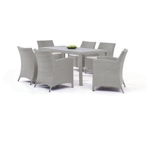 Polyrattan Essgruppe Meetos 6 - grau satiniert - Polyrattan Gartenmöbel Essgruppe in Grau satiniert
