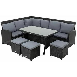 Polyrattan Essgruppe schwarz Sitzgruppe Garten Lounge Gartenmöbel Set Rattan - ESTEXO
