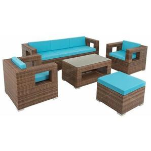 Polyrattan Gartenlounge Rattan Lounge Gartenmöbel Set Outdoor Sitzgruppe Braun - ESTEXO