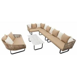 Polyrattan Luxus Lounge Set Gartenmöbel Sitzgruppe Couch Garnitur Sofa Tisch - ESTEXO