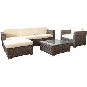 Polyrattan Rattan Lounge Sitzgarnitur Jamaica braun mit cremeweißen Sitzauflagen 5 Personen - I-FLAIR