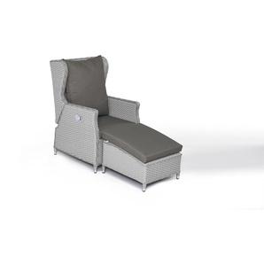 Polyrattan Sessel Chesta mit Hocker - grau satiniert